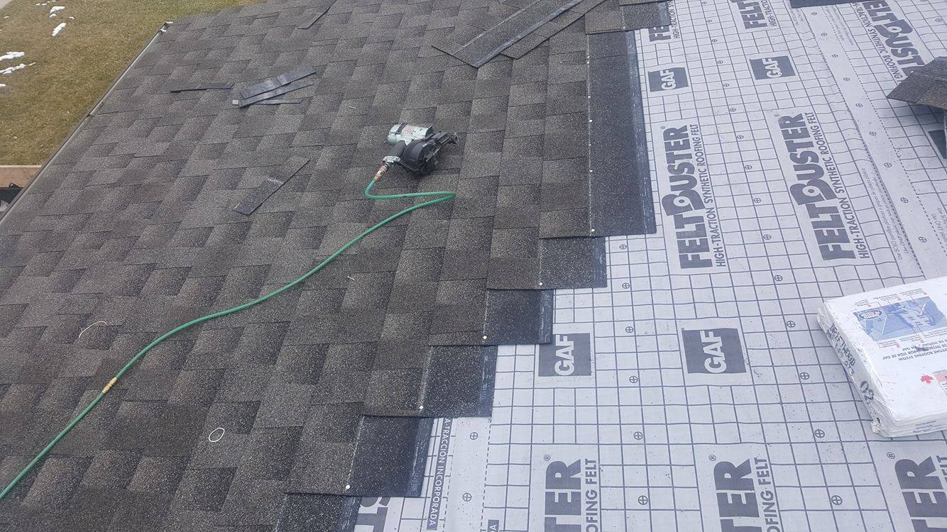 during roof installs in Edmonton